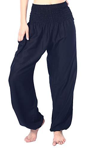 Boho Vib Women's Rayon Print Smocked Waist Boho Harem Yoga Pants (Small/Medium, Solid Black)