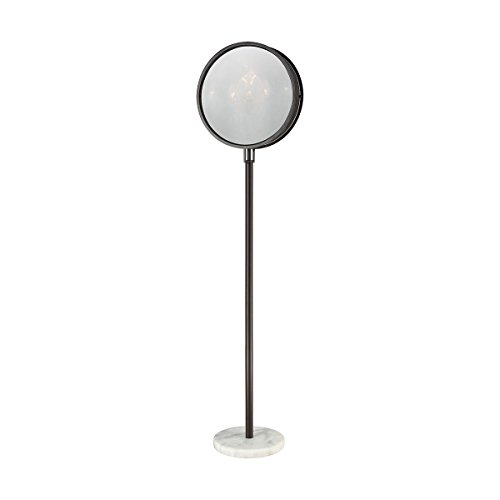 Diamond Lighting 1141-080 Floor lamp Oiled Bronze Finish, Plated Smoke Glass, White Marble Base