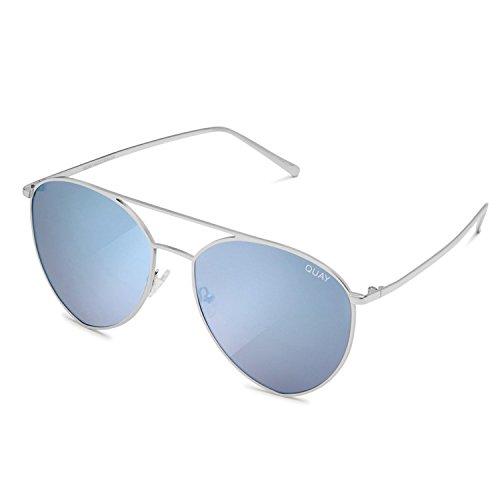 63bc768057 Amazon.com  Quay Australia INDIO Women s Sunglasses Jasmine Aviator  Teardrop - Silver Blue   Quay  Clothing