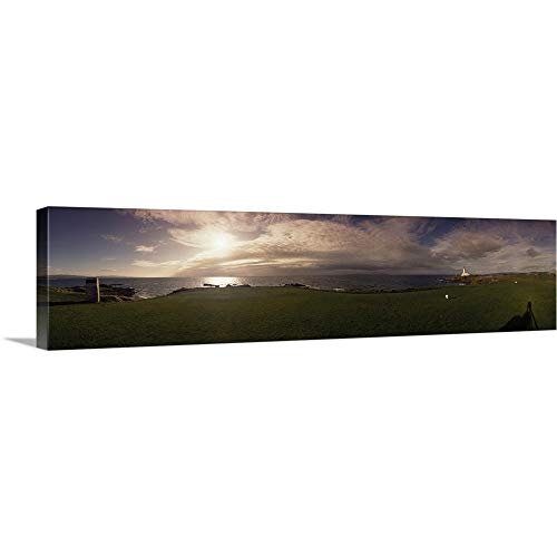 GREATBIGCANVAS Gallery-Wrapped Canvas Entitled Golf Course with a Lighthouse in The Background, Turnberry, South Ayrshire, Scotland by 60