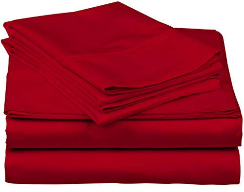True Luxury 1000-Thread-Count 100% Egyptian Cotton Bed Sheets, 4-Pc Queen RED Sheet Set, Single Ply Long-Staple Yarns, Sateen Weave, Fits Mattress Upto 18'' Deep Pocket - Big Red Sheet