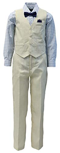 Vittorino Boy's Linen Look 4 Piece Suit Set with Vest Pants Shirt and Tie, Sand - Yellow, 8