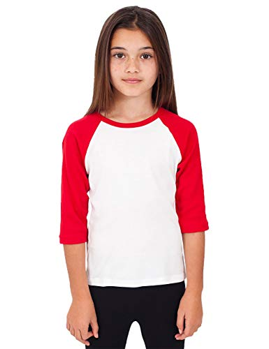 Red Raglan Sleeve - Hat and Beyond Kids Raglan Jersey Child Toddler Youth Uniforms 3/4 Sleeves T Shirts (Large (8-9 Year),(Kid) 5bh03_White/Red)