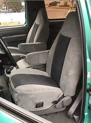Durafit Seat Covers, F119-V7-Ford Bronco High Back Bucket Seats with 1 Armrest Per Seat. Electric Lumbar. Exact Fit Seat Covers in Gray Automotive Velour (Bronco Seats Ford)