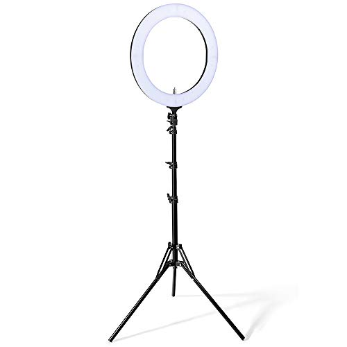 Houzetek Ring Light, 18 inch Bi-Color 448 LED 85W Ring Light Dimmable and Color Temperature 2700-5500K with Light Stand, Phone Holder, Carrying Bag for Video & Photography, Makeup, YouTube, Selfie