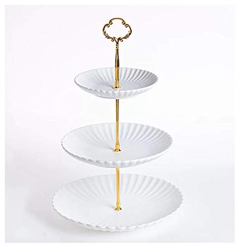 Zealax 3 Tiered Cake Stand Porcelain Dessert Cupcake Serving Tray Platter for Fruit Appetizer Buffet Server, White