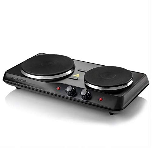 Stove Hot Plate - OVENTE BGS102B Countertop Electric Double Cast-Iron Burner with Adjustable Temperature Control, 7 & 6 Inch, Metal Housing, Indicator Light, Non-Slip Rubber Feet, Black