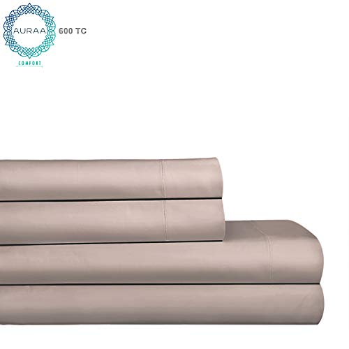 AURAA Comfort 600 Thread Count 100% American Supima Long Staple Cotton Sheet Set,4 Piece Set, Full Sheets Sateen Weave,Hotel Collection Soft Luxury Bedding,Fits Upto 18