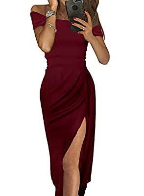 Happy Sailed Women Off Shoulder Ruched Metallic Knit High Slit Evening Party Cocktail Dress