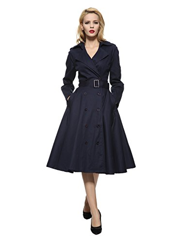 (Maggie Tang Vintage Elegant Swing Coat Rockabilly Tunic Party Dress Navy S)
