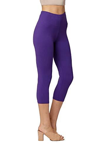 Premium Ultra Soft Womens High Waisted Capri Leggings - Cropped Length - Solid - Purple - Small/Medium (0-12)