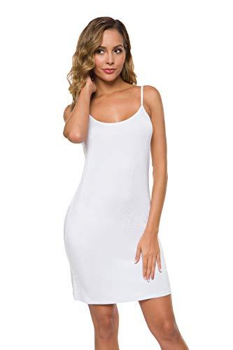Malist Women's Adjustable Spaghetti Strap Cami Full Slip Under Dress White Medium