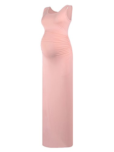 Women's Sleeveless Modal Maternity Maxi Dress Comfortable Tank Dress Light Pink