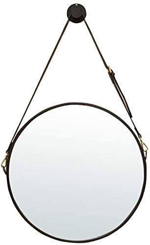 Gflyme Wall Round Metal Mirror with Adjustable Faux Leather Hanging Strap|Iron Framed|Bathroom -
