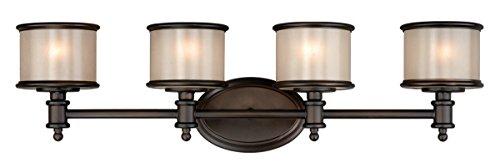 Vaxcel CR-VLU004NB Carlisle - Four Light Bath Bar, Noble Bronze Finish with Smoky Opal Glass