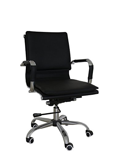 Bonded Leather Chair - Uomax Ergonomic Executive Office Chair Mid back Bonded Leather Task Swivel Chair with Arms and Lumbar Support (Black)