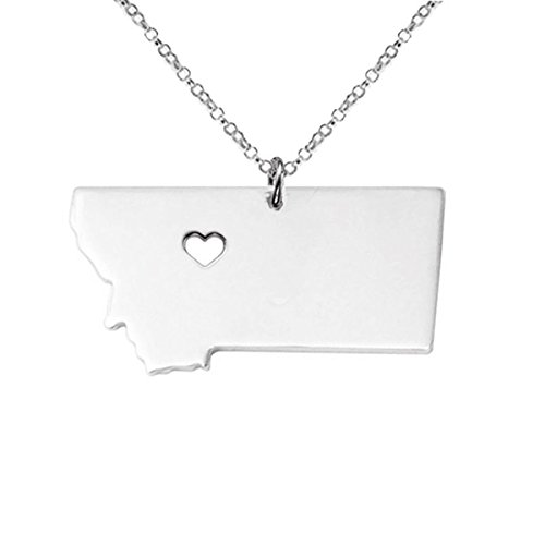 Silver Tone Stainless Steel Map Pendant Necklace, We Love Montana, MT