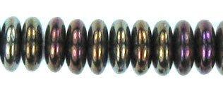 Brown Iris Czech Glass Rondelle Disc Beads 6mm - Disc Brown Iris