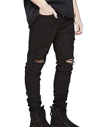 Moda Pantaloni Retrò Skinny Fit Nero Abbigliamento Strappati Jeans Libero Uomo Denim Tempo Da Slim wAw17qTB