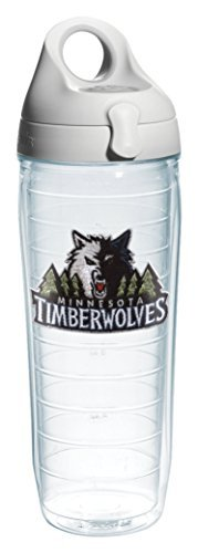 Tervis 1066774 NBA Mn Timberwolves Water Bottle with Grey Lid, Emblem, 24 oz, Clear by Tervis by