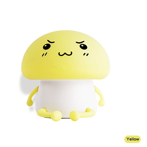 Price comparison product image Novelty Silicon Emoji Mushroom Led Touch Nightlight Rechargeable Sensitive Cute Desk Room Lamp for Baby,  Children, Toddlers or Nursery Bedroom Children (Yellow)