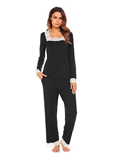 Square Neckline Satin (Ekouaer Women's Long-Sleeve Jersey Pajamas With Satin Pocket)