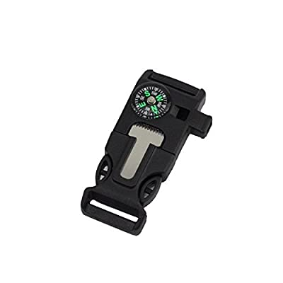 Agile-shop 10ps Side Buckle with Whistle Compass Flint Fire Starter Scaper for Paracord Bracelet