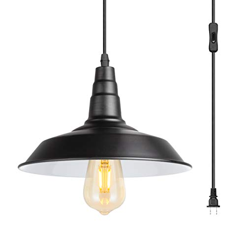 - 15 Feet Extension Hanging Lantern Pendant Light,Swag Lights with Plug in Cord and On/Off Switch,Industrial Barnyard Metal Hanging Ceiling Pendant Lamps for Dining Room, Bed Room Or Warehouse,UL Listed