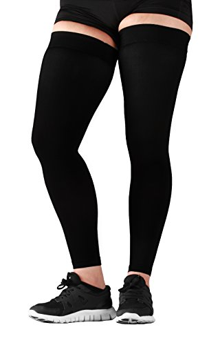 Mojo Sports Medical Grade Thigh High Compression Stockings – Thigh Leg Sleeve – 20-30mmhg Graduated Compression – Thigh Hi Recovery Garment Treats Hamstring and Quad Injuries – 3XL, Black