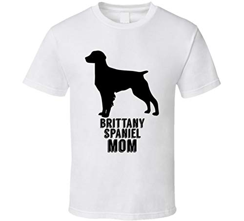 (Brittany Spaniel Mom Animal Dog Lovers T Shirt M White)