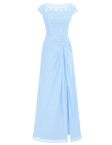 Himmelblau Spitze Chiffon Abendkleider Festkleider Lang Damen Ballkleider Hochzeitskleider xwZgvz0