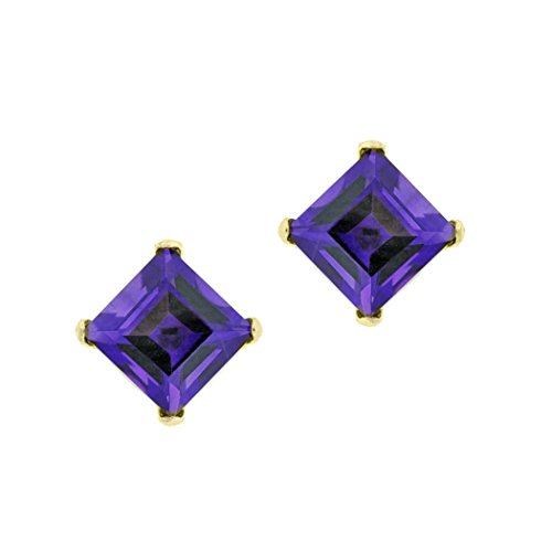 .50 cttw Square 4MM Purple Amethyst 10K Yellow Gold Stud Earrings (Gold Amethyst 10k Bracelet)