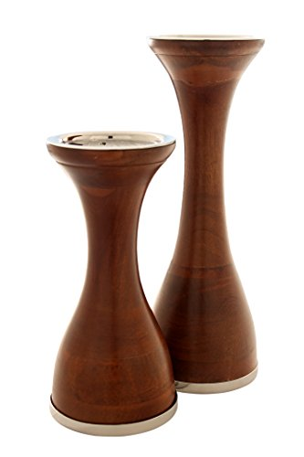 Modernist Wood Pillar Candle Holders with Nickel Polished Platform for Pillar Candles. Elegant Proportions with Smooth Wood Finish. Set of Two Includes Large 12