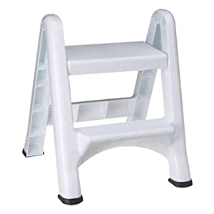 """Rubbermaid Commercial Products Two-Step Folding Stepstool, White (300-Pound Load Capacity, 22-7/8-Inches x 21"""" Depth x 18-7/8-Inches)"""