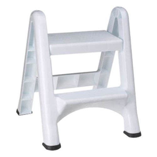 (Rubbermaid Commercial Products Two-Step Folding Stepstool, White (300-Pound Load Capacity, 22-7/8-Inches x 21