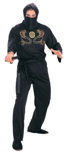 Black Ninja Costume For Men (Rubie's Costume Deluxe Adult Ninja Costume, Black, Medium)
