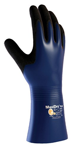MaxiDry Plus 56-530/L Nitrile Coated Glove with Nylon/Lycra Liner and Non-Slip Grip on Palm and Fingers - Coated Gauntlet