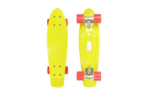 Stereo Vinyl Cruiser Plastic Complete Skateboard (Yellow, 22.5x6-Inch)