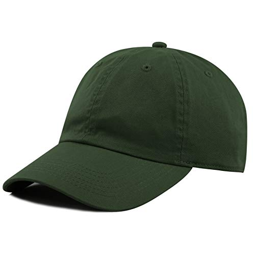 The Hat Depot 300N Washed Low Profile Cotton and Denim Baseball Cap (Dark Green)