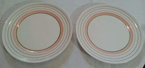 Pair of Vintage SALEM Stoneware Georgian S 23K Gold Trim Salad Plate 7.5