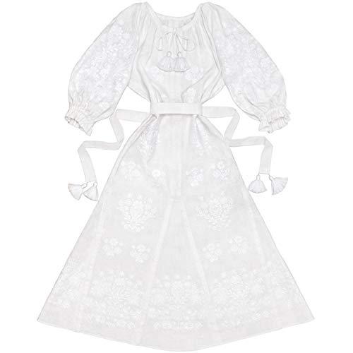Women Ukrainian Folk Embroidered Long White Dress Hippie Boho Style Ethnic Vyshyvanka Tasseled Boho Chic Mexican Slavic…