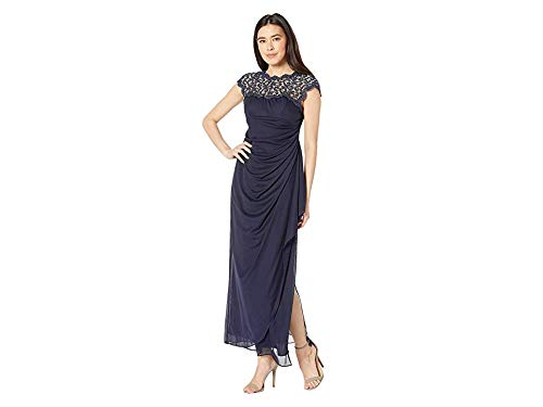- Alex Evenings Women's Metallic Cutout Lace Dress (Petite and Regular Sizes), Navy, 12P