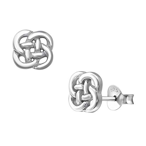 7mm 925 Sterling Silver Minimalism Celtic Endless Knot Studs Earrings Womens Jewelry