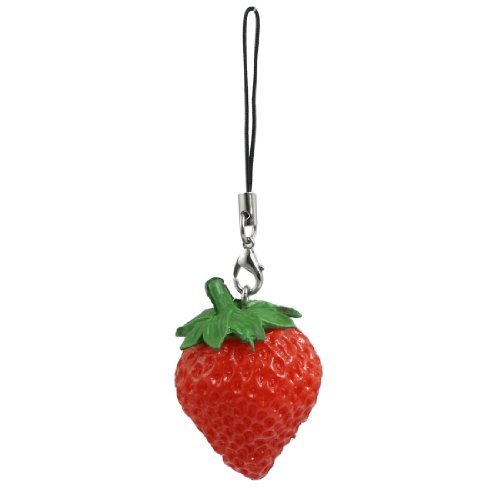 0.25 New Pendant (Water & Wood Soft Plastic Red Green Strawberry Pendant Decor for Cell Phone Mp3 Mp4)