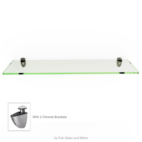 Fab Glass and Mirror Rectangle Floating Glass Shelf Kit,  8'' X 30'',  Clear by Fab Glass and Mirror