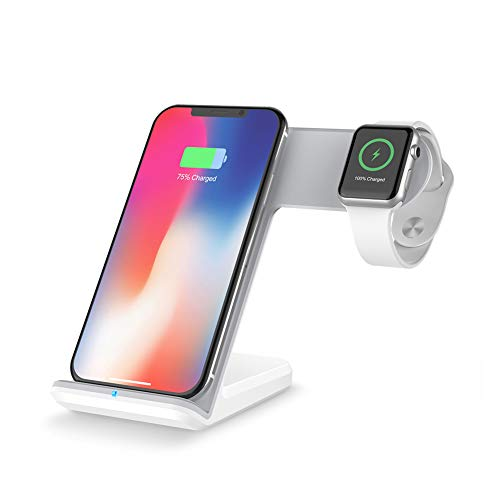 ETbotu Qi - Cargador rápido inalámbrico 2 en 1 para Apple Watch, iWatch, iPhone 8, iPhone X y Todos los Dispositivos Qi...