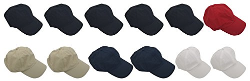(12 Pack Baseball Caps, Adjustable Strap, Quick Dry Nylon Hats, Outdoors Plain Colors Bulk Wholesale (12 Pack Assorted))