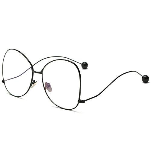 SojoS Oversized Clear Lens Glasses Metal Frame Eyeglasses Eyewear with Steel Ball SJ5005 With Black Frame/Clear - Glasses Steel Frame