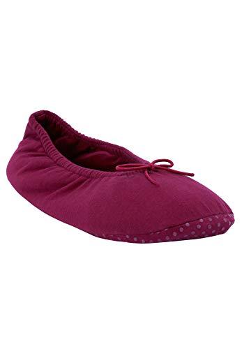 Dreams & Co. Women's Plus Size Knit Ballerina Slippers - Pomegranate, M(7/8)