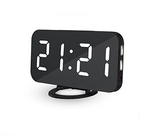 Zinnor LED Digital Alarm Clock with USB Port for Phone Charger,Touch-Activited Snooze and Dimmer,Outlet Powered | Snooze Suit for Bedside/Living Room/Office (Black -【White Word】)